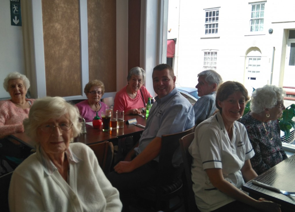 residents from Bradfield Residential Home, out for a meal.