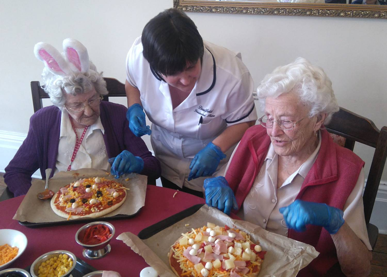 Pizza making at Bradfield Residential Home.