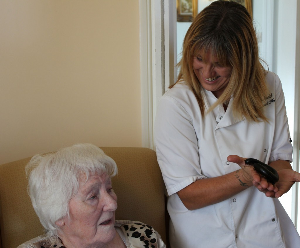 Different expressions when Zoolab arrives here at Bradfield Residential Home.