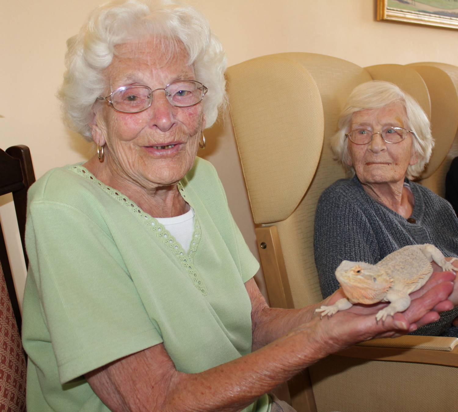 Brave residents when Zoolab arrives, here at Bradfield Residential Home, Walmer Kent